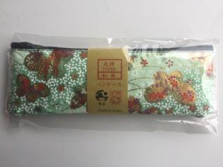 「筆姫」&美濃和紙コラボ・ペンケース(友禅柄 緑)