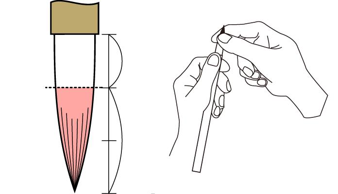 太筆のほぐし方